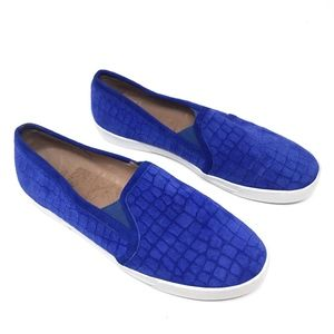 Joie Blue White Suede Croc Emboss Huxley Sneakers